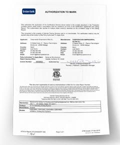 Certificat US Intertek
