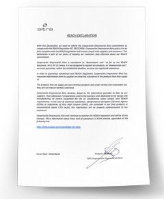 Certificat de conformité REACH